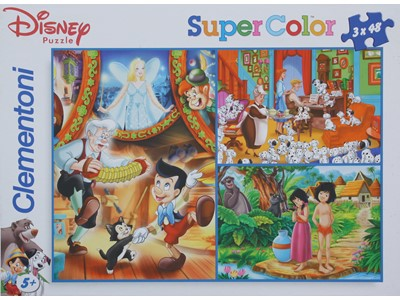 Disney Puzzle. Super Color - 3 x 48 brikker