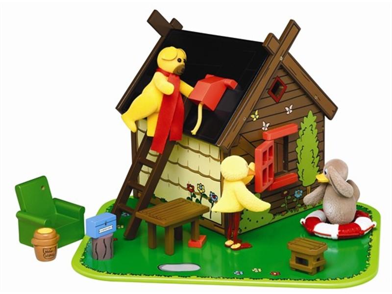 Frisk Bamses hus i træ med figurerne Bamse, Kylling og Ælling - Spillehulen YP-32