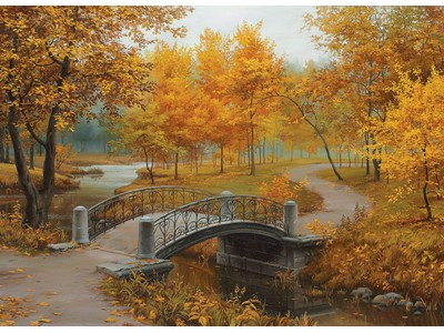 Autumn in an old Park by Eugene Lushpin